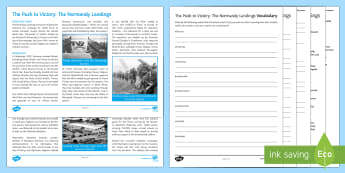 The Push to Victory: The Normandy Landings  Differentiated Reading Comprehension Activity - Allies, Axis Powers, World War Two, World War II.