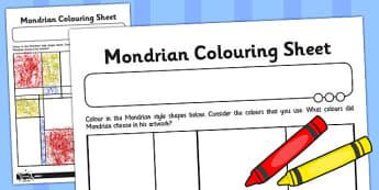 Piet Mondrian Colouring Sheet - piet, mondrian, colouring, sheet