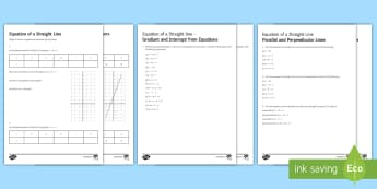Equation of a Straight Line Activity Sheets - graphs, straight line graphs, algebra, rearranging equations, parallel, perpendicular, gradient, int