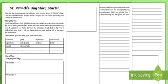 St. Patrick's Day Story Starter Activity Sheet - ROI, St. Patrick's Day Resources, shamrock, clover, lucky, luck, Irish, story, stories, prompt, sta