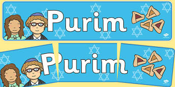 Purim Display Banner - Religion, faith, banner, display, sign, synagogue, hannukah, jew, jewish, God, RE, rabbai