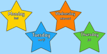 Multicoloured Stars Days of the Week Romanian Translation - romanian, stars, days, week