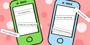 Texting Compliments Activity - making friends, communication