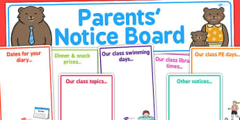 Editable Parents' Notice Board Pack - Parent Notice Board, Notice Board, Notice Display, Parents, Display, Notices, Parents' Information, Information
