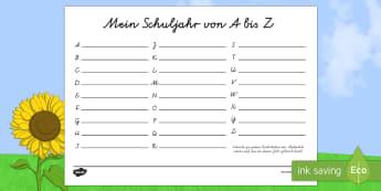 Mein Schuljahr von A bis Z Schreibvorlage - Mein Schuljahr von A bis Z, A-Z, Schuljahresende, Jahresende, Sommerferien, Sommer, Spaß, Erinnerun