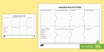 Individual Profile Record - New Zealand Back to School, individual student profile, profile, record, individual