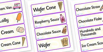 Ice Cream Van Role Play Labels - ice cream van, role play, labels, ice cream van labels, ice cream role play, role play label, labels for ice cream van