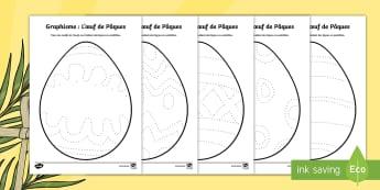 Fiches de graphisme : les oeufs de Pâques Feuille d'activités - graphisme, Pâques, cycle 1, easter, œuf, tracer, KS1, EYFS, cycle 2, dessin ,French