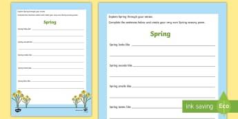 Spring Sensory Poem Activity Sheet - Easter, Spring, senses, poem, poetry.