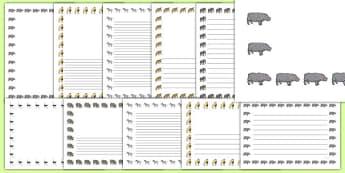 Safari Page Border Images - safari, Africa, elephant, giraffe, animals, tour, travel, page border, border, writing template, writing aid, writing