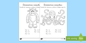 Hojas de colorear por divisiones exactas con una cifra - monstruos - dividir, división, repartir, cifras, divide, division, sharing, figures, digits, escrito, escrita,