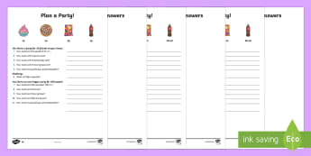 Plan a Party Differentiated Money Activity Sheets - NI KS2 Maths Resources, KS1 Resources, word problems, real life problems, decimals, times tables, mu