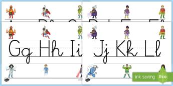 Recta alfabética de exposición: Los superhéroes - Los superhéroes, proyecto, transcurricular, poderes, abecedario, exponer, formación,Spanish