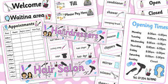 Hairdressers/Salon Role Play Pack - Hairdresser Role Play, salon role play, Role Play Pack - role play, Display signs, display, labels, packhairdresser resources, salon resources, hairdryer, hairdresser, stylist, customer, hairstyle, role play, displ
