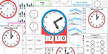 Telling The Time Lapbook Creation Pack Arabic Translation - arabic, lapbooks, pack, time, clocks, anaologue, maths