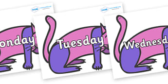 Days of the Week on Purple Cat to Support Teaching on Brown Bear, Brown Bear - Days of the Week, Weeks poster, week, display, poster, frieze, Days, Day, Monday, Tuesday, Wednesday, Thursday, Friday, Saturday, Sunday