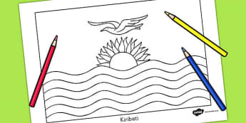 Kiribati Flag Colouring Sheet - countries, geography, colour