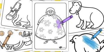 There Was an Old Lady Who Swallowed a Fly Colouring Sheets - fly