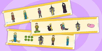 Rapunzel Display Borders - Rapunzel, prince, witch, tower, long hair, fairytale, traditional tale, Brothers Grimm, tower, woods, forest, prince, let down your hair, story, story sequencing, Display border, classroom border, border,