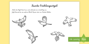 Bunte Frühlingsvögel Arbeitsblatt: Erstes Schneiden un Kleben - Frühling, spring, birds, Vögel, bunt, colorful,German