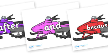 Connectives on Snowmobiles - Connectives, VCOP, connective resources, connectives display words, connective displays