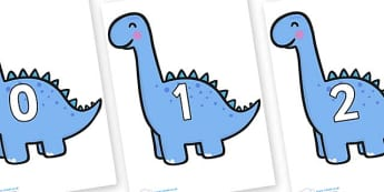 Numbers 0-50 on Diplodocus Dinosaurs - 0-50, foundation stage numeracy, Number recognition, Number flashcards, counting, number frieze, Display numbers, number posters