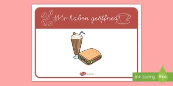 Café Wir haben geöffnet Schild Banner für die Klassenraumgestaltung - Kaffe, Kaffe trinken, Kuchen trinken, geöffnet, offen, geschlossen, Schild,German