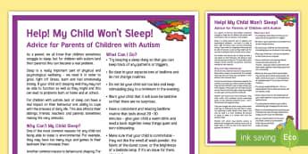My Child Won't Sleep: Children with Autism Adult Guidance - autism, asd, sleep, problems, concerns, parent, guidance, tips, help