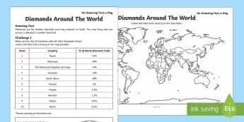 Diamonds Around The World Activity Sheet, worksheet