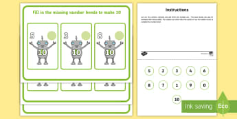 Workstation Pack: Robot Number Bonds to 10 Activity - Workstation Packs, TEACCH, autism, ASD, number bonds, independent work