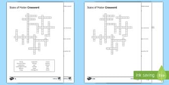 KS3 States of Matter Crossword