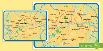 Map of London Large Display Poster - The Great Fire of London,  history, year 2, y2, ks1, topic, map, area, london burroughs