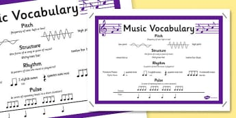 Music Further Vocabulary Poster - vocabulary, music, poster