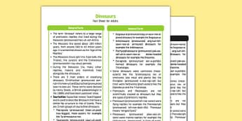 Dinosaurs Fact Sheet for Adults - EYFS, Early Years, KS1, Key Stage 1, prehistoric, mesozoic, living things, in the past, fossils