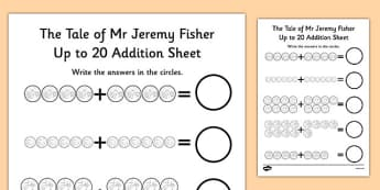 The Tale of Mr Jeremy Fisher Up to 20 Addition Sheet - jeremy, fisher, addition, 20, maths, sheet, beatrix potter, maths, numeracy