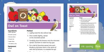 Owl on Toast Recipe - Whatever Next, Jill Murphy, owl and pussycat, the gruffalo, the gruffalo's child, owl babies, meg a