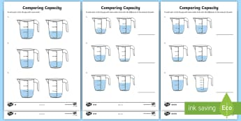 Year 3 Compare Capacity Differentiated Activity Sheets - measure, add and subtract capacity, jugs, millilitres, litres, water, volume
