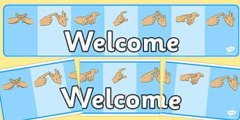 British Sign Language Fingerspelling Welcome Display Banner