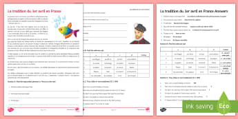 April Fools' Day in France Activity Sheet French - Poisson d'avril, April Fools Day, April Fool's Day, 1st April, 1er avril, premier avril, joke, bla