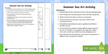 Summer Sun Art Activity Activity Sheet - ROI, Summer, Sun, Art, Activity, Infants, June Art,Irish, worksheet