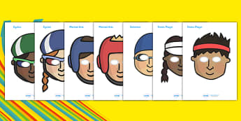 The Olympics Athletics Role Play Masks - Olympics, Olympic Games, sports, Olympic, London, 2012, role play, play, masks, role play masks, Olympic torch, flag, countries, medal, Olympic Rings, mascots, flame, compete, athletics, race, running, sprint,