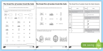 The Great Fire of London Crack the Code Addition and Subtraction Activity Sheet, worksheet