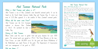 Abel Tasman National Park Fact File - New Zealand, my place, Years 1-6, primary, sightseeing, fact sheet, Aotearoa, national parks, Abel T