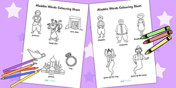 Aladdin Words Colouring Sheet - aladdin, keywords, colouring