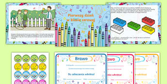 EYFS Starting reception editable powerpoint story and resource pack Polish-Polish