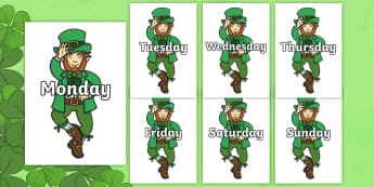 Days of the Week on Leprechauns - Days of the Week, Weeks poster, week, display, poster, frieze, Days, Day, Monday, Tuesday, Wednesday, Thursday, Friday, Saturday, Sunday