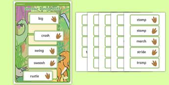 Dinosaur Dance Motif Sequencing Board - Eyfs, physical development, movement, actions