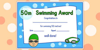 50m Swimming Certificate - swimming, certificate, 50m, awards