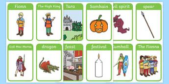 Fionn and the Dragon Vocabulary Flash Cards - Irish history, Irish story, Irish myth, Irish legends, Fionn and the Dragon, vocabulary, flashcards
