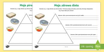 Karty Piramida Moja zdrowa dieta - odżywianie, żywienie, żywność, jedzenie, owoce, warzywa, piramida, piramidy, węglowodany, cukr
